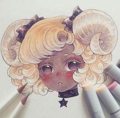 Aries ♈️ by Minmonsta Copic Drawings, Kawaii Drawings, Cute Drawings, Copic Kunst, Copic Art, Marker Kunst, Marker Art, Amazing Drawings, Beautiful Drawings