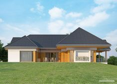 House with attic in modern style with usable area House with a large garage. Minimum size of a plot needed for building a house is m. House Plans Mansion, Cottage Style House Plans, My House Plans, Ceramic Roof Tiles, Balcony Doors, Modern House Design, Ground Floor, Home Projects, Building A House