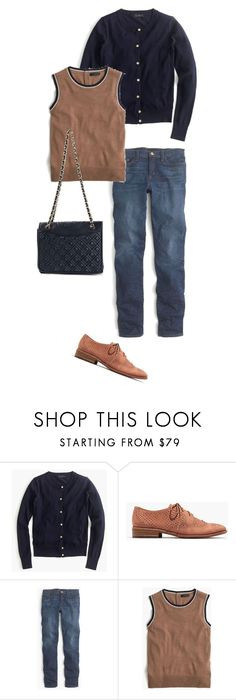 """""""Navy and Tan"""" by katherynh ❤ liked on Polyvore featuring J.Crew, Madewell and Tory Burch"""