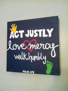 Micah 6:8, Bible Verse Art, 12 x 12 wrapped canvas via Etsy
