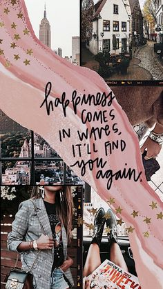 Happiness will find you again foundonweheartit iphonebackground phonebackground iphonewallpaper wallpaper phoneaccessories quotes new fashion sketchbook collage ideas 17 ideas fashion Pretty Phone Wallpaper, Iphone Background Wallpaper, Tumblr Wallpaper, Wallpaper Quotes, Pink Wallpaper, Galaxy Wallpaper, Mobile Wallpaper, Screen Wallpaper, Mode Collage