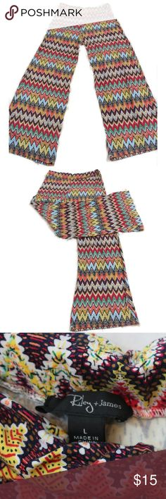 Riley and James Chevron Palazzo Pants Riley and James Chevron Striped multicolored wide leg palazzo pants. Super cute, soft and comfy. Good Condition.  Size Large Waist stretches from 32-42″ Length 42″ Riley+James Pants Wide Leg