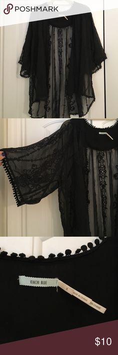 Urban Outfitters All Black Kimono Lightly worn, all black embroidered Kimono. Sheer material. 3 quarter length sleeves and it's shorter in the front and longer in the back. Baggy style. Urban Outfitters Sweaters Shrugs & Ponchos