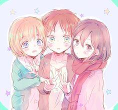 Armin, Eren, & Mikasa ~ precious children