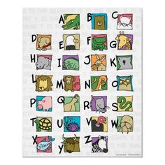 Animal Alphabet Poster (small) from http://www.zazzle.com/whimsical+posters