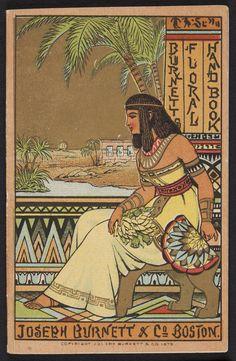 "Vintage Victorian Era Paper Scrap/Trade Card ""Egyptian, Joseph Burnett & Co"". Vintage Ads, Vintage Posters, Vintage Ephemera, Advertising History, Historic New England, Oriental, Ex Libris, Egyptian Art, Ancient Egypt"