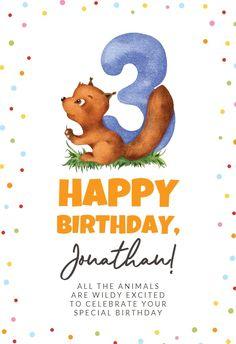 3rd Birthday Squirrel - Happy Birthday Card #greetingcards #printable #diy #birthday