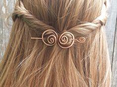 Hair barrette copper hair bow spiral hair clip. wire by Kapelika, $19.50