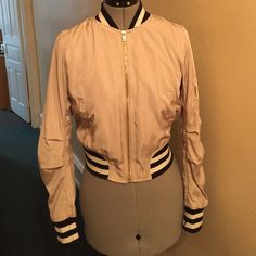 Bomber jacket Lightly worn bomber jacket. Black, white and beige. Great condition Mustard Seed Jackets & Coats