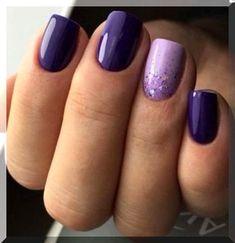 Dark Purple Nail Polish, Light Purple Nails, Pink Nails, Gray Nails, Purple Wedding Nails, Dark Color Nails, Purple Nail Art, Black Nail, Purple Gray