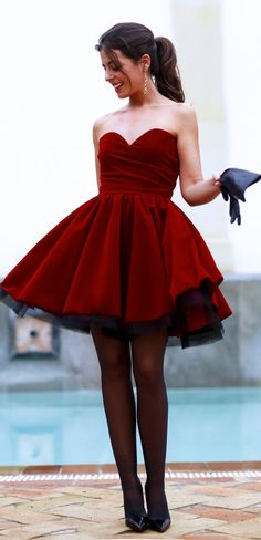 Oxblood Fit And Flare Off Shoulder Skater Dress