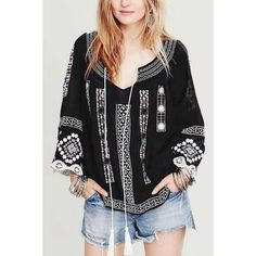 Yoins Black Lace Splicing Sleeve Embroidered Blouse-Black  S/M/L (€27) ❤ liked on Polyvore featuring tops, blouses, black, shirts & blouses, black lace shirt, boat neck shirt, black shirt, embroidered blouse and lace sleeve top