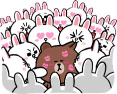 Sticker Maker - SWEET BROWN Y CONY Cute Cartoon Images, Cute Love Cartoons, Cute Love Gif, Cute Love Pictures, Line Cony, Bisous Gif, Kawaii Quotes, Cony Brown, Wonder Art
