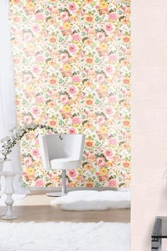 Large, bright and beautiful floral Albany wallpaper design in a watercolour effect #brightfloralwallpaper