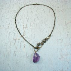 Amethyst nugget necklace asymmetrical with bronze by Adornments NYC