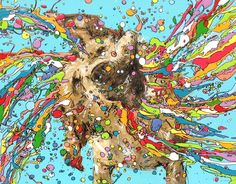 Dog, drip art, mch artwork Drip Art, Messy Art, Symbols, Artwork, Gifts, Painting, Dog, Color, Diy Dog