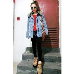 Women Long Sleeve Detachable Fur Collar Jean Coat M/L @QZS11353 $33.99... ($34) via Polyvore