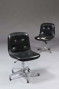 Charles Pollock; Steel Base Office Chairs, 1960s.