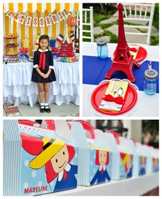 Madeline In Paris Themed Birthday Party. Could use some of the ideas for any Parisian party. Very cute dessert table! Kara's Party Ideas