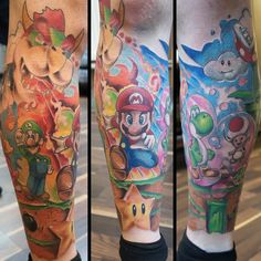 Awesome Mario sleeve courtesy of Gatiz Tattoos. #tattoos #ink #sleeve…