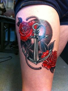 31 Anchor and Rose Tattoo on Leg