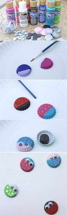 Bug Magnets from Bottle Caps Something cute to make with kids. use for a metal tic tac toe travel board.: