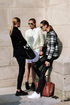 Agne Konciute, Waleska Gorczevski & Hanne Gaby Odiele | Paris | We love this | Master the model off duty look with quality basics @ theodderside.com