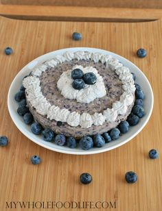 Blueberry Cheesecake with coconut whip cream.  Just a few simple ingredients and no cooking required!  Vegan, gluten free and grain free.