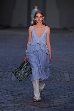 Love the pale blue colour and ruffles at the waist of this dress. Seen at Copenhagen Fashion Week - Lala Berlin Spring/Summer 2017 Ready-To-Wear