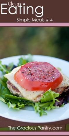 Clean Eating Simple Meals Turkey burger with cheese tomato lettuce Banting Recipes, Beef Recipes, Low Carb Recipes, Real Food Recipes, Cooking Recipes, Healthy Recipes, Low Carb Burger, Bean Burger, Healthy Snacks