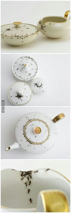 Vintage porcelain covered with hand painted ants.