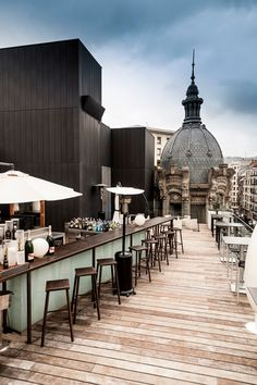 La Terraza de Yandiola , on the rooftop of Albondiga Bilbao, an old wine place readapted by Philippe Starck