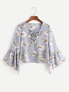 Shop Flower Print Lace Up Fluted Sleeve Blouse online. SheIn offers Flower Print Lace Up Fluted Sleeve Blouse & more to fit your fashionable needs.