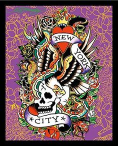 6d0cb2c417a9 Amazon.com: buyartforless IF HR 17156 19.5x15.5 1.25 Black Pl Framed Ed  Hardy New York City 19.5X15.5 Tattoo Art Print Poster Skull Serpents Eagle  & Roses ...