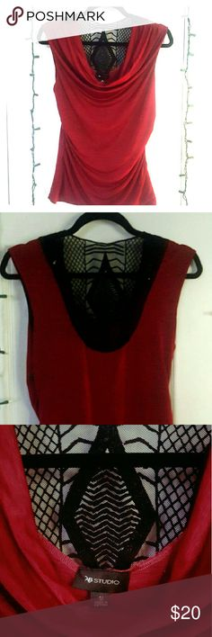 BEAUTIFUL BLOUSE Perfect those holiday parties coming up! Red no sleeve blouse with boho detail on back. AB Studio Tops Blouses