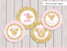 Pink and Gold Minnie Mouse Cupcake toppers, Glitter Cake Toppers, Decorations Birthday Printables, Minnie party printable Printable DIY Matching