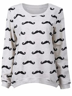 Light Grey Multiple Black Moustache Print Sweatshirt - Sheinside.com