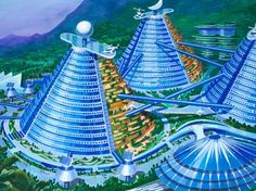 A collection of futuristic cone shaped buildings designed to appear like a steel and glass mountain range. (Courtesy Koryo Tours