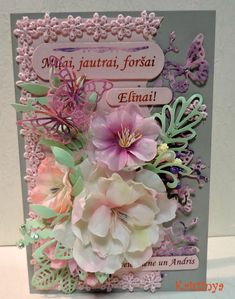 Flower greeting card handmade paper flowers lace spellbinders greeting card with handmade flowers made by kristinya m4hsunfo