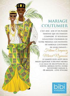 Mi klo o Cote d'voire Traditional Wedding Invitation Wedding Invitation Card Wording, Engagement Invitations, Bridal Shower Invitations, Igbo Wedding, Ghana Wedding, Wedding Ceremony, Wedding Hijab, Wedding Dresses, Ghana Traditional Wedding