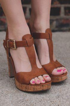 T-strap Buckle Ankle Cork Accent Platform Heels Donte-H