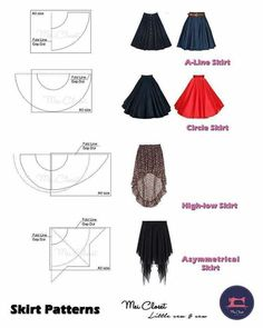 Best 10 Here are all the basic circle skirt patterns. Check out the link for mor… Best 10 Here are all the basic circle skirt patterns. Check out the link for more instructions and variations. Skirt Patterns Sewing, Clothing Patterns, Circle Skirt Patterns, Pattern Dress, Top Pattern, Crochet Pattern, Diy Clothing, Sewing Clothes, Fashion Sewing