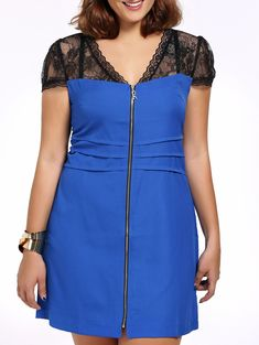 Alluring Plus Size Hit Color Zippered Bodycon Dress For Women