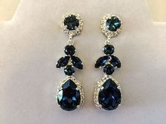 Navy Blue Swarovski Crystal Embellished Teardrop Dangle Earrings - product images  of