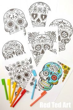 Free Day of the Dead Colouring Pages for Grown Ups... you get 7 of them on the down loadable link!!  Día de Muertos = celebrating the lives of those loved ones that have passed.
