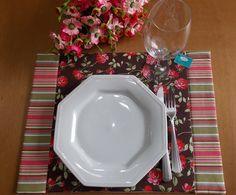 Jogo Americano 4 peças Floral e Listrado