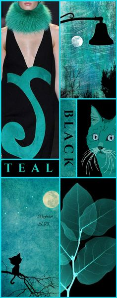 '' Black & Teal '' by Reyhan S.D. Colour Schemes, Color Trends, Color Patterns, Print Patterns, Collages, Owl Quilt Pattern, Color Collage, Mood Colors, Shades Of Teal