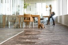 Leather flooring combined with glass wall for meetingroom.