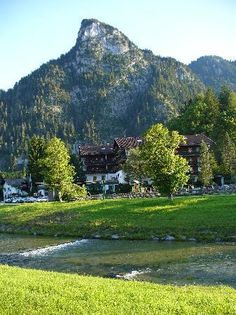 Oberammergau, Germany - there is a cross on top of this mt. & the passion play is to thank God for saving them from the plague.