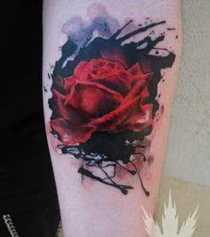 Crazy rose tattoo (3) - rose forearm tattoo on TattooChief.com